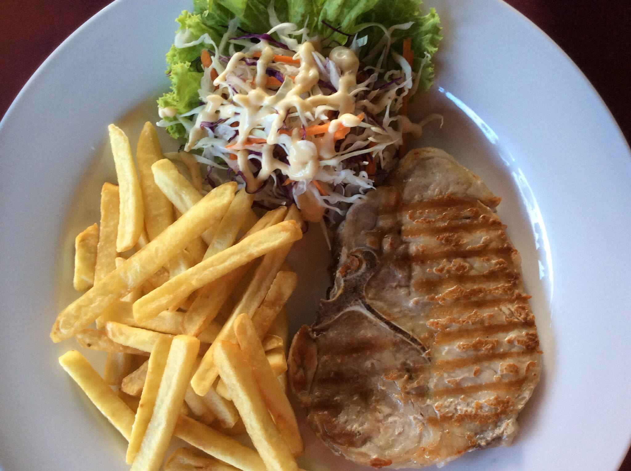 Grilled Pork Chop and Chips